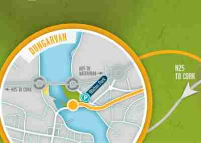 enlarged map of Dungarvan with Greenway access point marked.